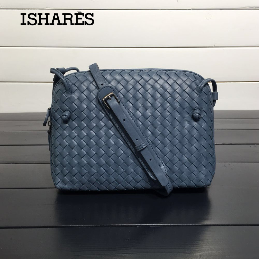 ISHARES Sheepskin Woven Luxury Crossbody Bags Women Girls Messenger Handmade Designer Top Quality Lambskin Bags Fashion IS324123