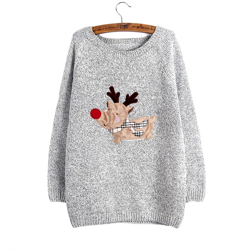 Pullover Europe US foreign trade large women's sweaters deer patch ...