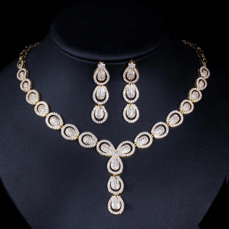 Nigeria Gold Color 2 Pcs Cubic Zirconia Drop Earrings Necklace Jewelry Sets Wedding Bridal Dress Accessories