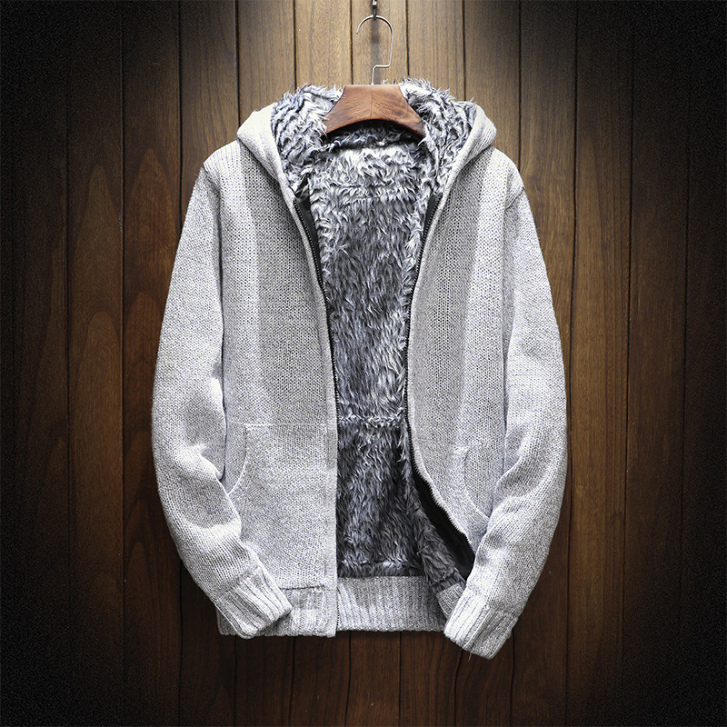 2019 NEW Knitting Thick Hoodie Zip Hooded 2018 Men's Sweaters Autumn Winter Warm Cashmere Wool Zipper Pullover Sweaters