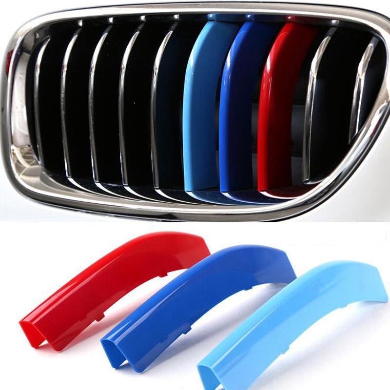 Стайлинга автомобилей для BMW 3 4 5 Х3 х4 Х5 Х6 Ф10 Ф18 Ф30 Ф35 3 цвета ABS для 3D М передняя решетка отделки полосы Крышка наклейки Мотоспорт