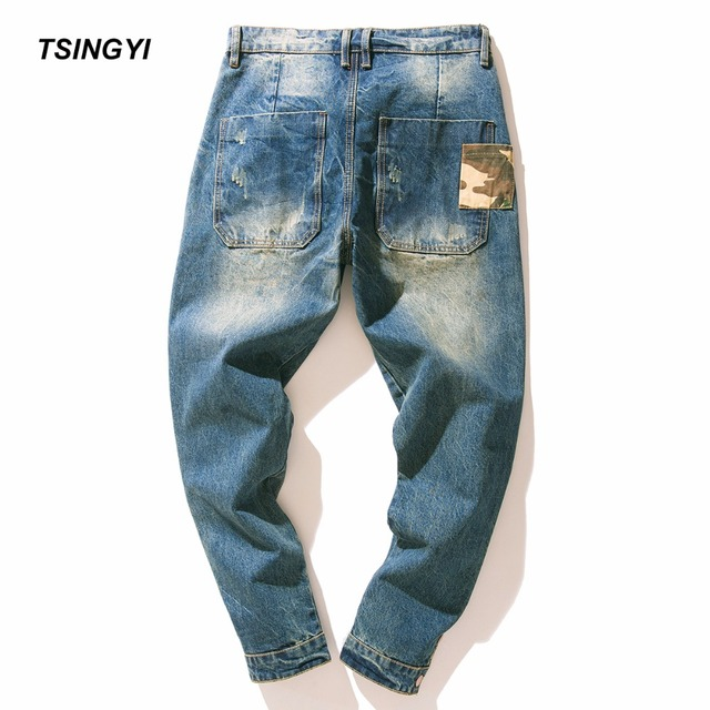 Tsingyi Men Camouflage Patchwork Do Old Style Harem Jeans Monkey Wash Homme Camo Denim Mens Joggers Streetwear 100% Cotton Pants