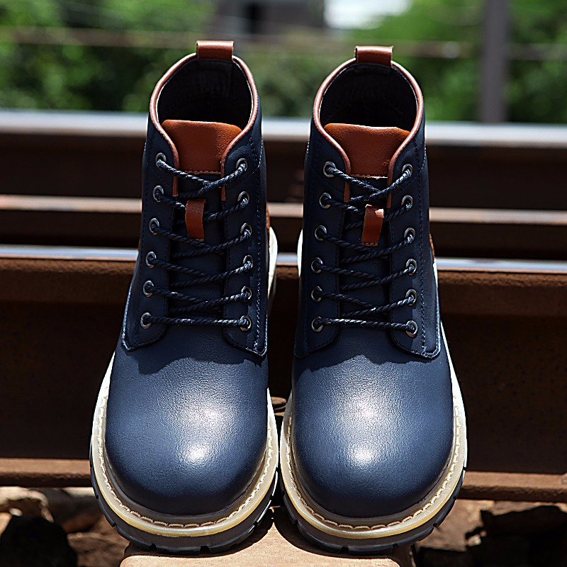 2016 Fashion Genuine Leather Boots Mens Shoes Casual Lace Up Flat Heel Motorcycle Boots Round Toe Men Ankle Boots Size 38-44 H72 (18)