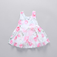 Baby clothes brand design sleeveless bow tie Puff summer girl children's clothing set cool cotton party princess dress