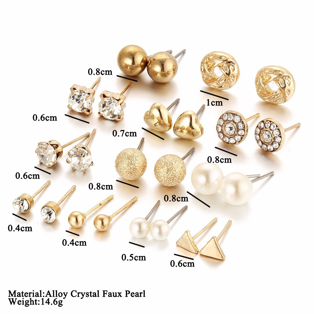 1906d3c7a Aliexpress.com : Buy AiNian 12 Pairs Sets Round Square Ball Alloy Crystal  Stud Pearl Earrings For Women Hot selling Cute Stud Earrings Sets from  Reliable ...
