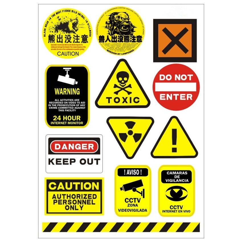 НЕБЕЗПЕЧЕННЯ Попереджувальні знаки Наклейки для шкір для ноутбука Ipad Наклейки для планшетного ПК ДВИГИДНИЙ МОТОЦИКЛ Водонепроникний сонцезахисний крем ПВХ Автомобільні наклейки