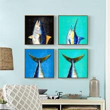 цены на Sea Fish Animals Nautical Posters and Prints Wall art Decorative Picture Canvas Painting For Living Room Home Decor Unframed  в интернет-магазинах