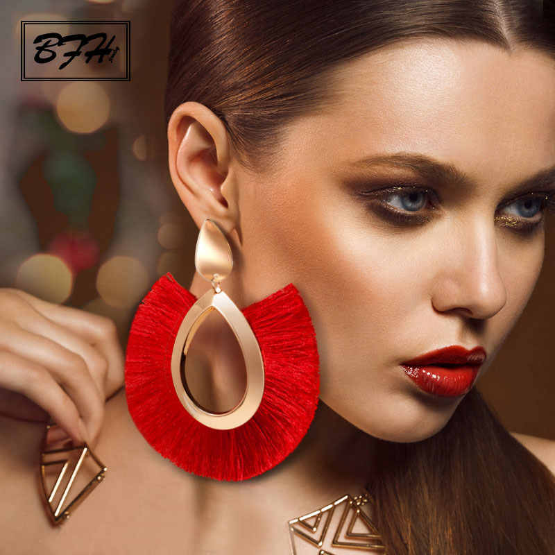 BFH Bohemian Big Drop Earrings for Women Lady Female Fringe Handmade Brincos Large Fashion Woman Tassel Earring Jewelry