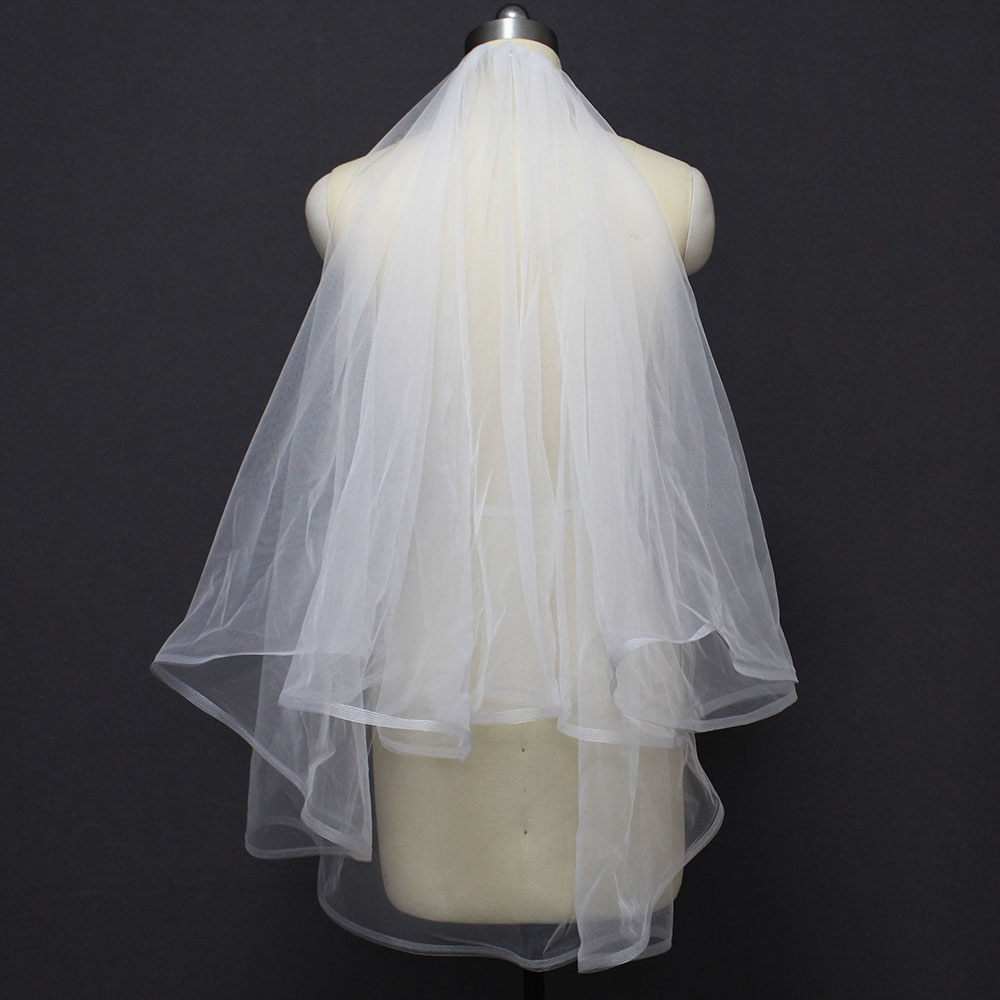 New 2 Layers Horsehair Short Wedding Veils 2T Bridal Veil With Comb Voile Mariage Wedding Accessories