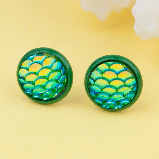 Doreen Box Copper & Resin Mermaid Fish/ Dragon Scale Ear Post Stud Earrings Green AB Color Round 15mm x 12mm,1 Pair 2017 new