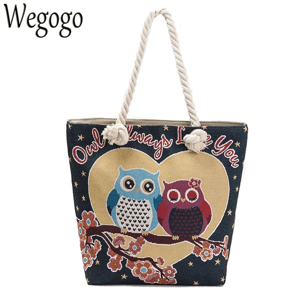 Vintage Canvas Women Shoulder Bag Owl Printed Beach Bag Female Big CapacityTotes Lady Girl Handbag Casual Travel Shopping Bags