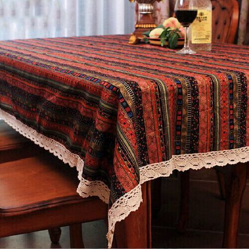 Home Textile Small And Pure Fresh Past Style Table Cloth Lace Cotton Print Fabric Dining Cover Whole In Tablecloths From
