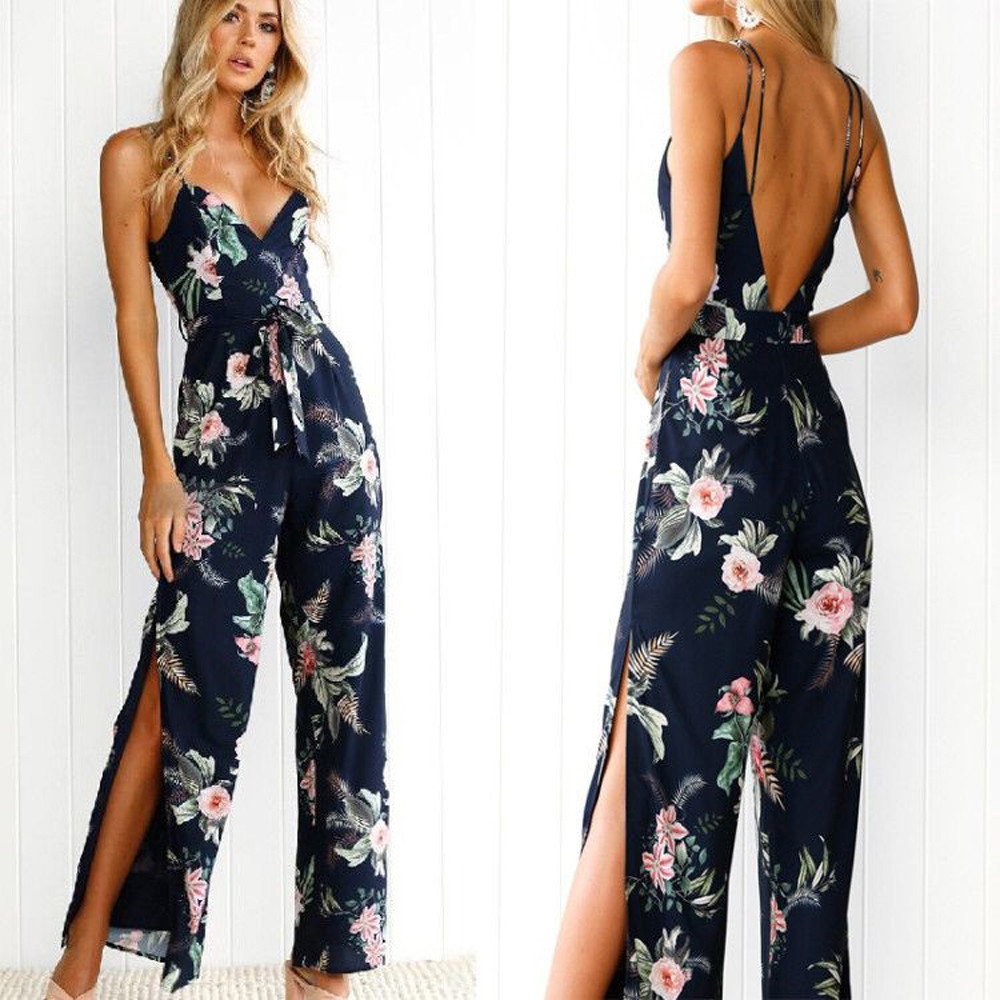 Jumpsuits for women 2018 Fashion Sexy Jumpsuit V-Neck Floral Printed Sleeveless Casual bodysuit women sexy playsuit plus size 1