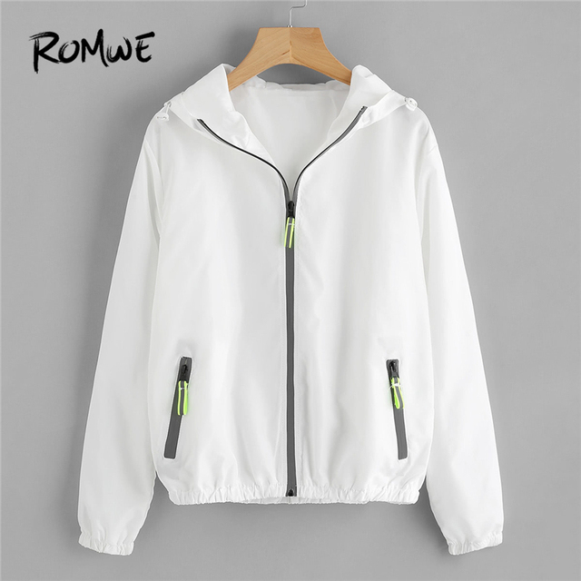 365edb1e9b US $24.98 |ROMWE White Zipper Shirred Trim Hooded Jacket Women Casual  Autumn 2018 New Style Coat Female Spring Sporty Plain Outerwear-in Basic  Jackets ...