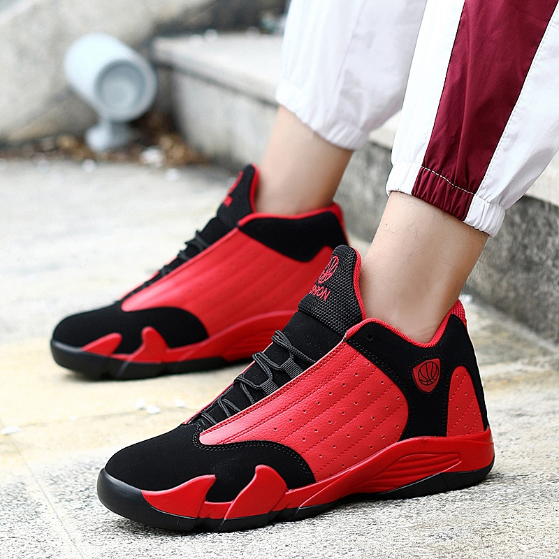 Mens Basketball Shoes Men Sneakers Men Outdoor Breathable Lace-up Ankle Boots Zapatillas Hombre Deportiva Non-slip red Footwear