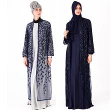 アバヤドバイイスラム教徒女性メッシュ葉スパンコール着物カーディガンブラウス Roupas Feminina Mujer