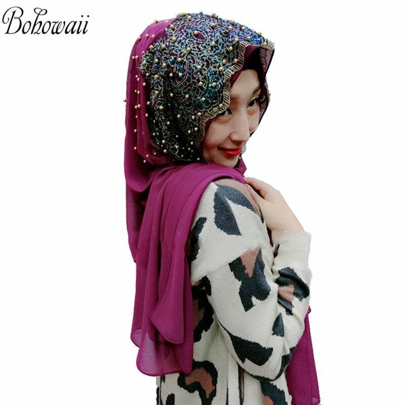 Muslim Hijab Scarfs for Women Long Chiffon Headscarf with Bead Hoofddoek Moslima Islamic Prayer Turbante Mujer