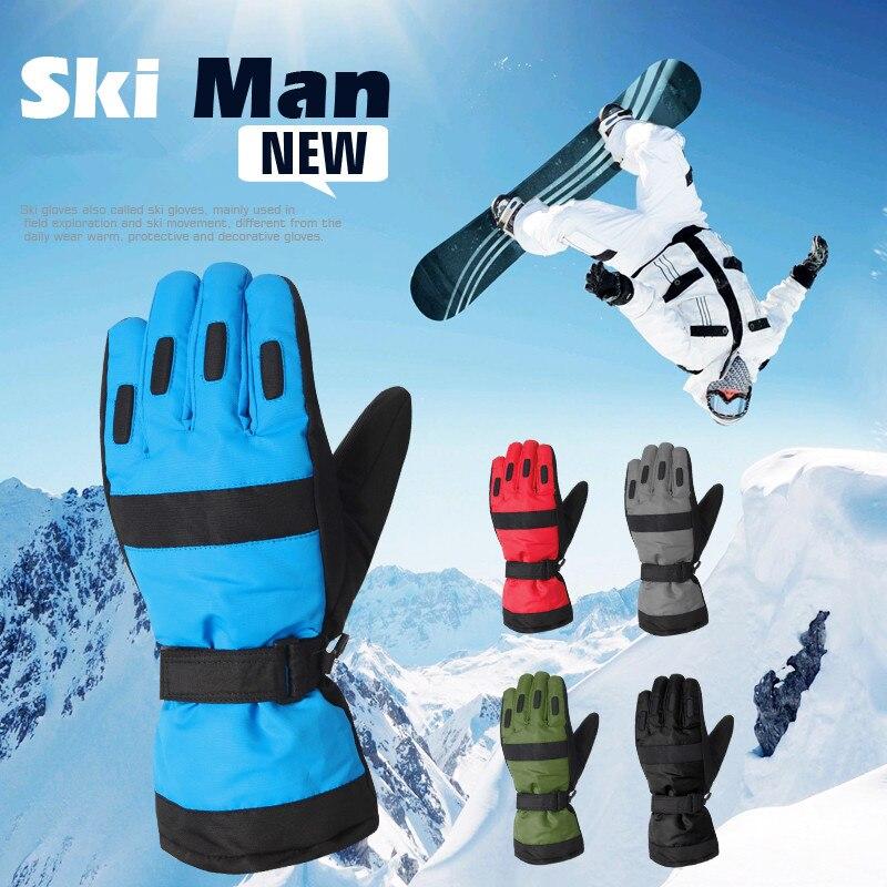 Winter New Fleeces Thicken Men s PU Stitching Waterproof Warm font b Gloves b font Ski