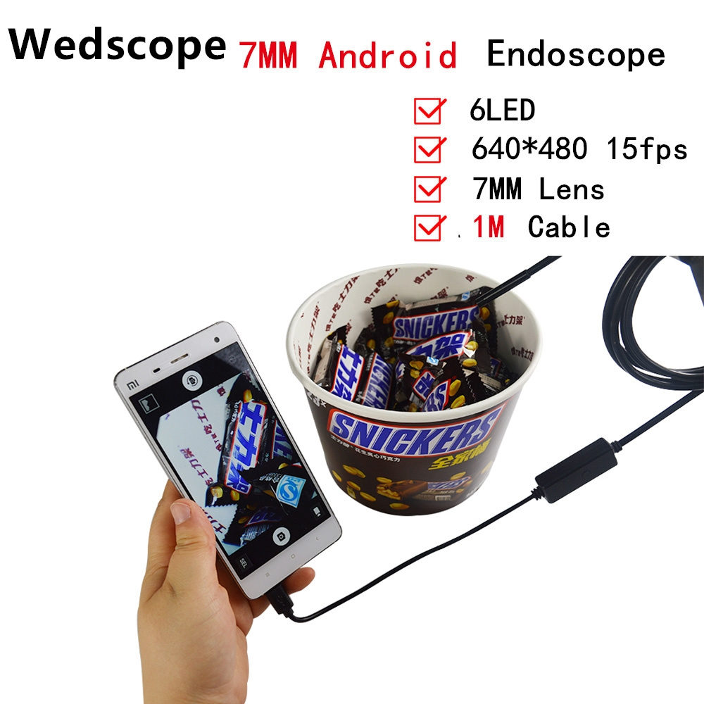 7MM 2M Android USB Endoscope With 6LED mini sewer camera Borescope for OTG USB pipe camera Snake Camera car inspection headset bullet external camera for usb otg compatible android smartphones