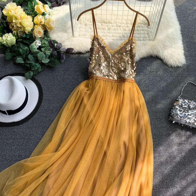 V-Neck Sequins Backless Sleeveless A-line Dress 2