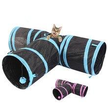 Túnel do gato do animal de estimação 3 maneira y forma dobrável animal de estimação filhote de cachorro animal gato gatinho jogar brinquedo som exercício túnel caverna gato brinquedos interativos