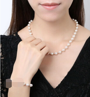 """ddh001118 AAA 18""""9-10 mm REAL south sea white pearl necklace 7.5"""" bracelet sets 14K"""