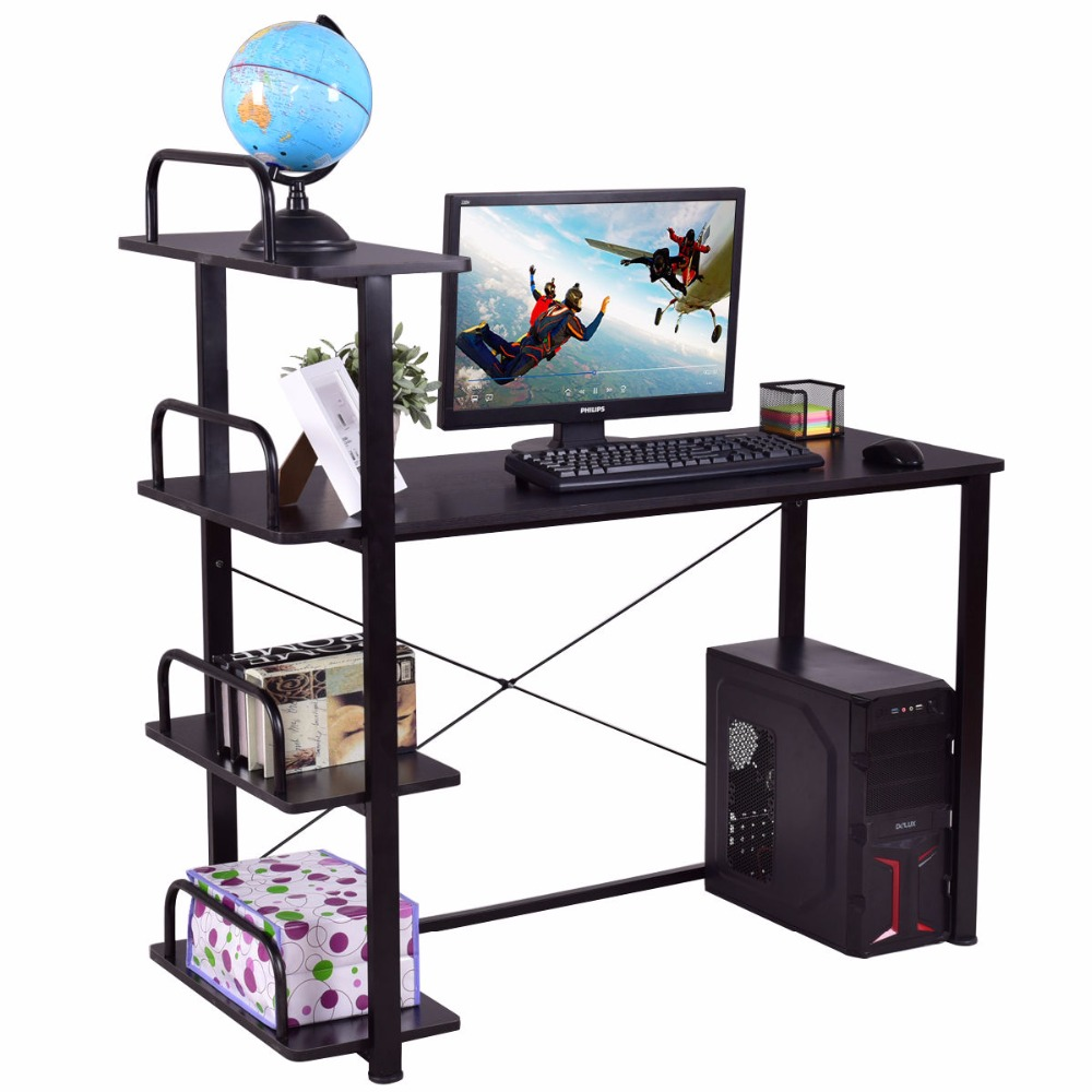Goplus 4 niveaux ordinateur bureau bois ordinateur portable Table d'écriture avec étagères poste de travail bureau à domicile bureau mobilier moderne HW55453