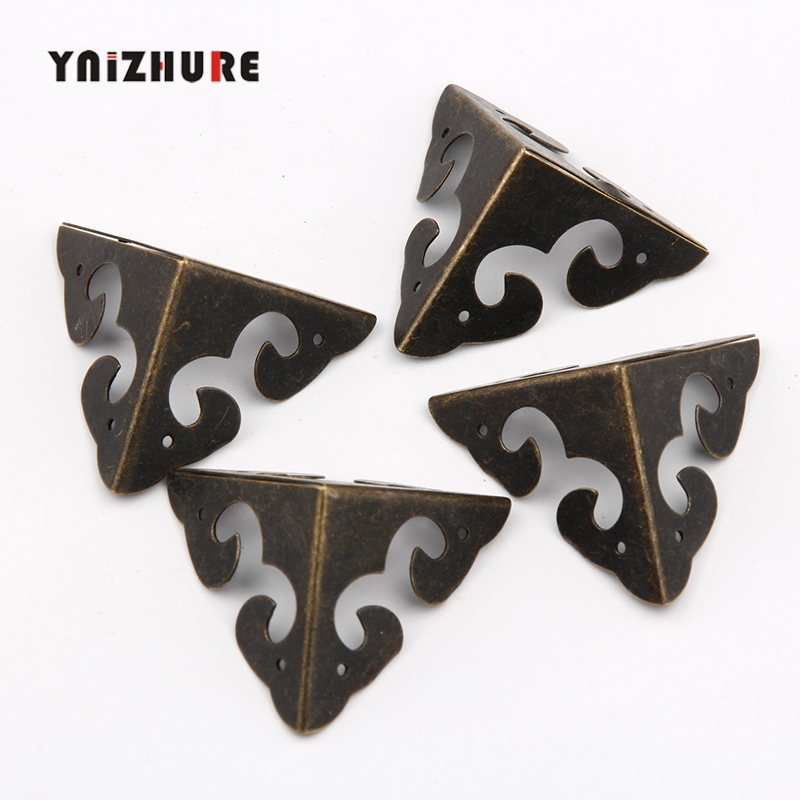 31*31mm 4Pcs Case Box Corners For Furniture Decor Triangle Flower Side,Wooden Box Corner,Bronze Tone