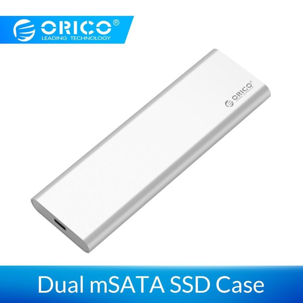 ORICO 2 Bay SSD mSATA tipo de caso-C USB3.1 10 Gbps Gen2 mSATA SDD soporte Raid 0 PM 4 TB Max Compatible con Windows/Linux/Mac