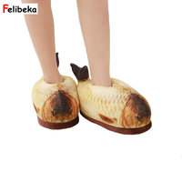 Winter Cotton Slippers Men Women Down Slippers Home Shoes Flats Warm Thermal Plush Shoes Stylish Fish
