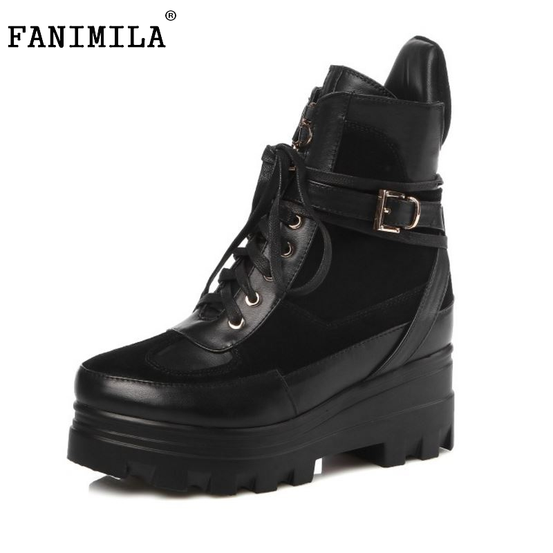 ФОТО Women Platform Real Genuine Leather Short Boots Woman Square Heel Botas Ladies New Lace Up Heeled Casual Shoes Size 33-40