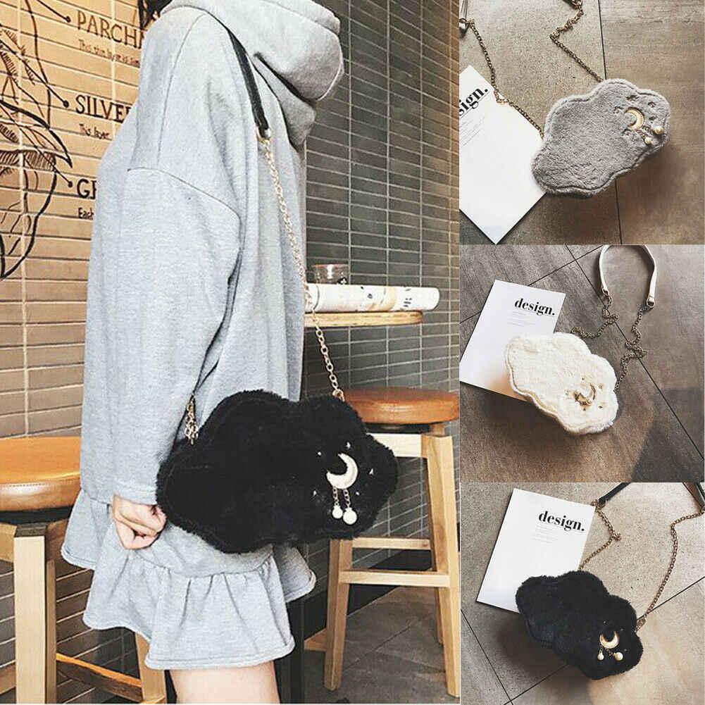 Новая женская зимняя сумка с милыми облаками, плюшевая сумка для девушек, сумка через плечо, мягкая сумка для мобильного телефона
