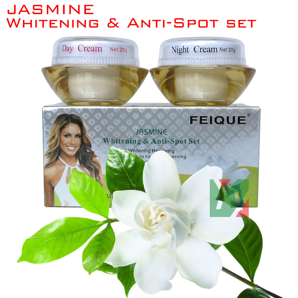 wholesale 2014 New Arrival FEIQUE jasmine whitening and anti spot anti freckle cream 20g+20g 50set/lot