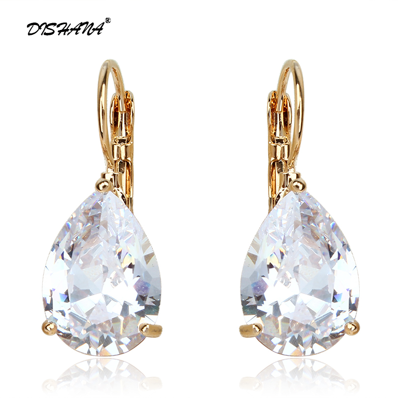 Merek Desain Fashion Anting-Anting Besar Elegan Teardrop Bentuk Cubic Zirconia Bridal Earrings Wanita Jewelry Drop Earring E0040