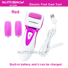 Red USB smooth strong electric pedicure tool /  rechargeable waterproof Foot Care Tool +3pcs For scholls funcdion roller heads