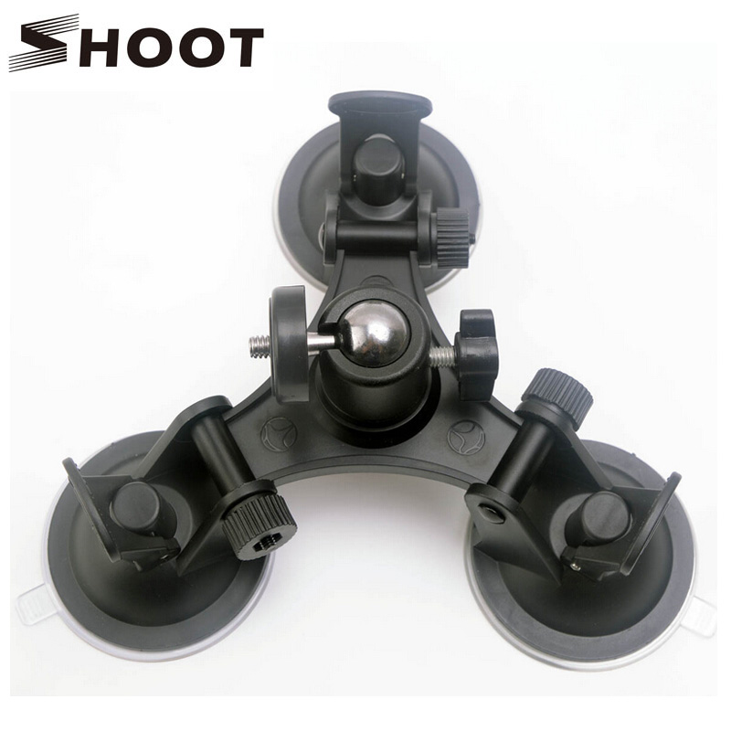 SHOOT Low Angle Removable Gopro <font><b>Suction</b></font> <font><b>Cup</b></font> <font><b>Mount</b></font> with Tripod Ball head Sucker for GoPro Hero 5 4 3 Session SJCAM Xiaomi Yi 4K