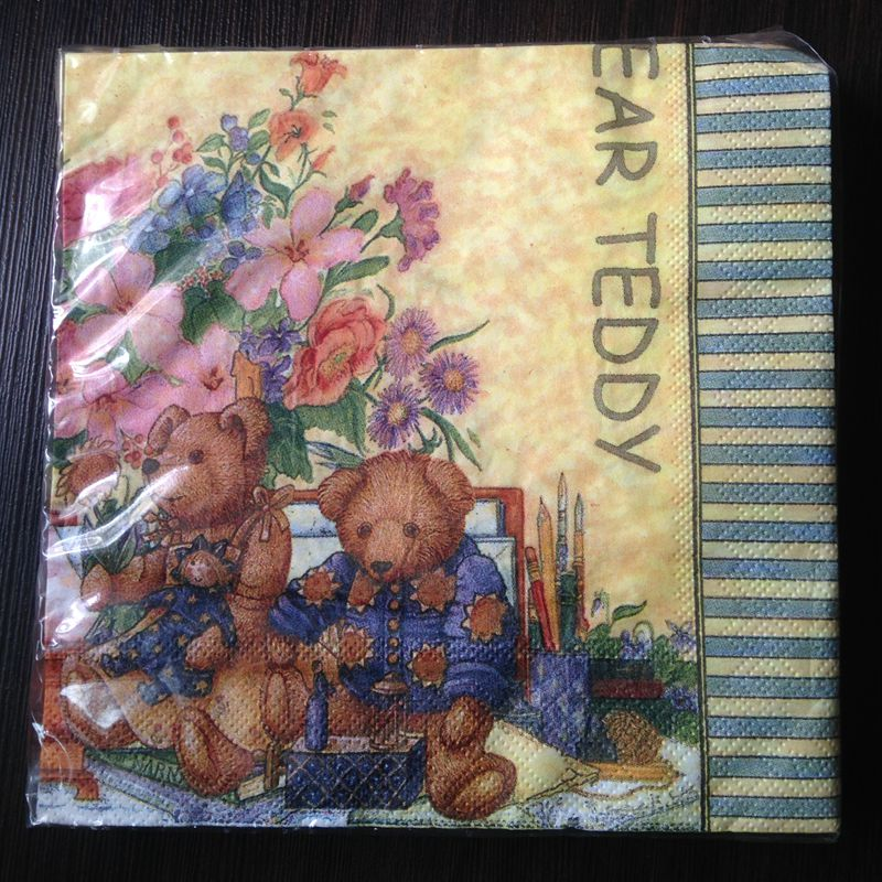4 Lunch Paper Napkins for Decoupage Party Table Craft  Gift and  Teddy Bear