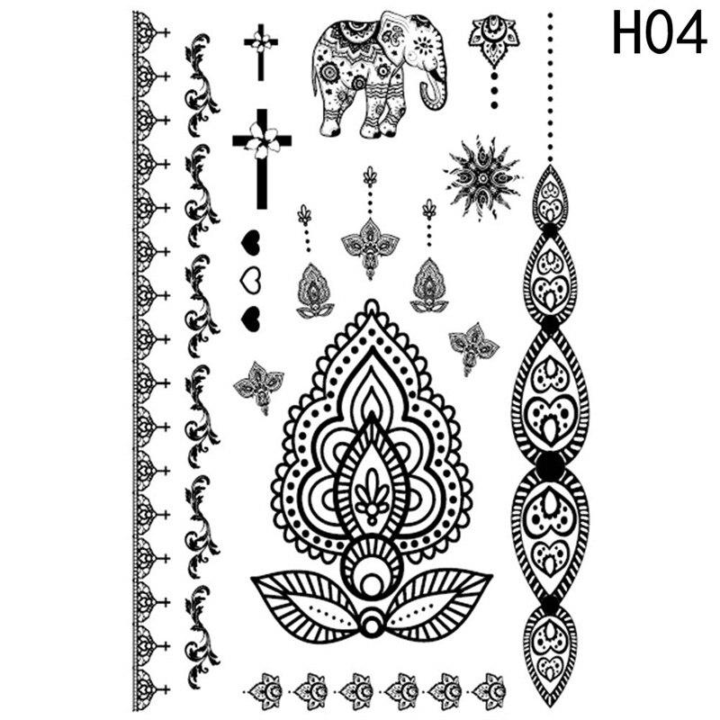 Henna Lace Bracelet Temporary Tattoo Sticker: Lace Black Henna Temporary Tattoo Sticker Mandala