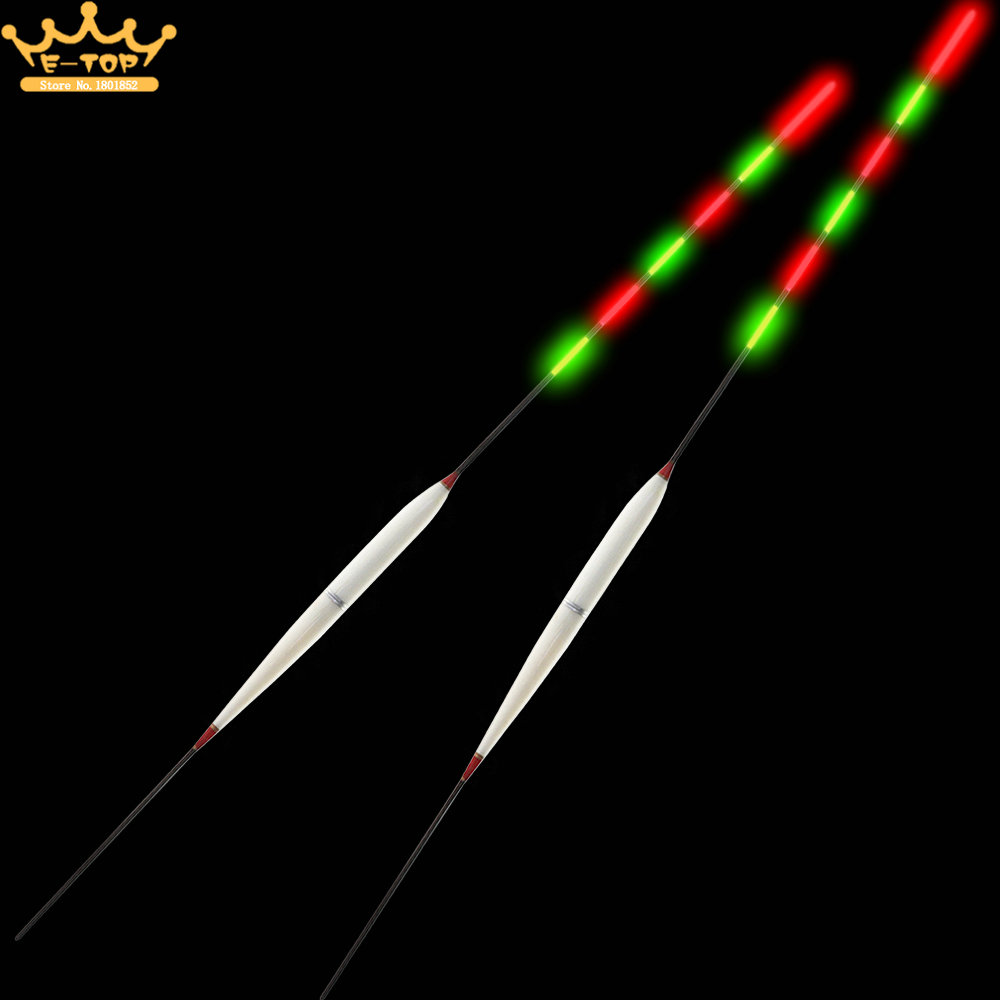 2pcs Boat Fishing Bale Fir Bobber Buoyage Marine Electronic Vertical Night Fishing Float with 3 Head Luminous and Two Battery