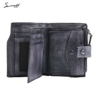 SMIRNOFF Vegetable Tanned Leather Men'S Wallet Luxury Brand Zipper & Hasp Male Purse Card Holder Man Credit Card Wallet Purse
