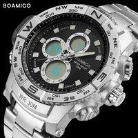 S SHOCK Men Sport Watches Steel LED Digital Watch Analog Quartz Watch BOAMIGO Brand Chronograph Auto