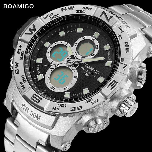 4749e1dc630 S-SHOCK men sport relógios de aço LED relógio digital analógico quartz  watch BOAMIGO marca