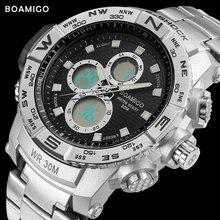 S-SHOCK deporte de los hombres relojes reloj de acero de cuarzo analógico reloj digital LED BOAMIGO marca cronógrafo automático fecha 30 M impermeable reloj