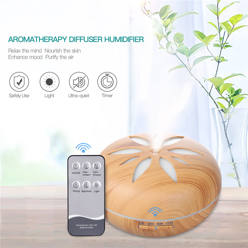 550ML Air Humidifier Aroma Diffuser 3M Remote Control Ultrasonic Humidifier Aroma essential oil Diffuser 7 Color LED Lights microcomputer intelligent humidifier aroma purification remote control a key touch ultrasonic humidifier