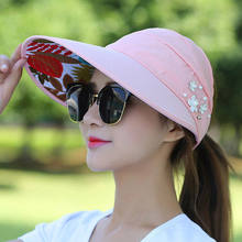 e04b2bcdf3478 Free shipping Golf cap Lady Summer Travel Folding Korean Sun Women Outdoor  Hat Anti-ultraviolet Cotton Flower Girl Baseball Hat
