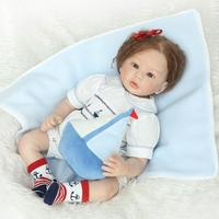 22 Reborn Baby Blue Eyes Doll Reborn of Silicone Reborn Dolls with Hand Rooted Mohair and Eyelash in Lovely Navi Clothes Set