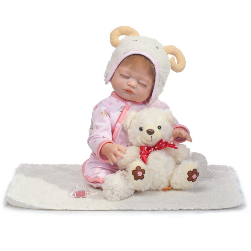 50cm New Full Body Silicone Reborn Baby Doll Toys Newborn Girl Baby Doll Christmas Gift Birthday Gift Bathe Toy Girls Brinquedos 55cm full body silicone reborn baby doll toys newborn girl baby doll lovely child birthday gift bathe toy girls brinquedos