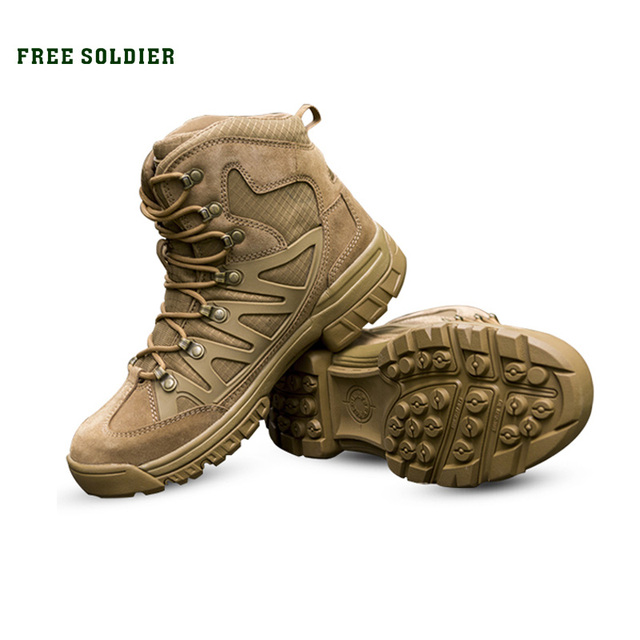 Soldat gratuit Sports de plein air tactiques hommes bottes, chaussures de randonnée pour la montagne, chaussures pour le Camping, escalade en cuir importé