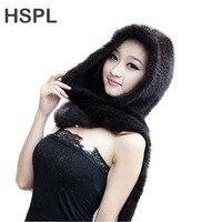 HSPL 2017 новая норковая меховая шапка с шарфом для зимы для девочек кофейного цвета черного цвета
