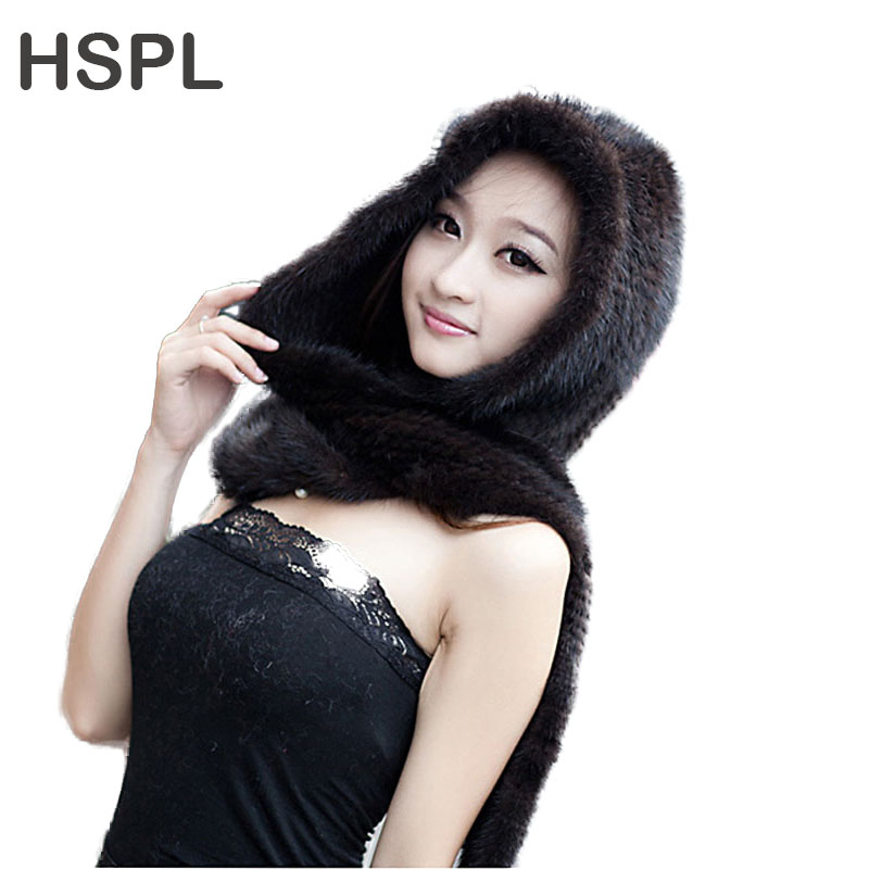 HSPL 2017 New Mink Fur Hat With Scarf for Winter for Girls  Coffee color Black Color hspl fur hat guarantee 100